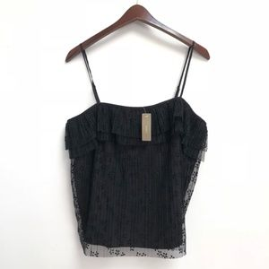 NWT black J. Crew Fluttery lace cami size M